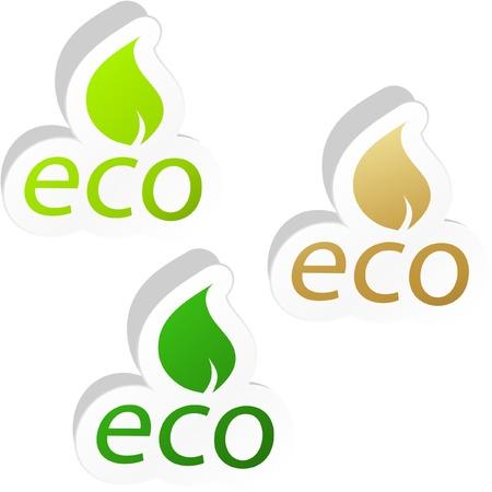 ECO sticker set. Vector