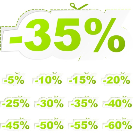 Discount sticker templates with different percentages   Stock Vector - 9039208