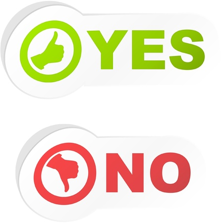 POSITIVE NEGATIVE: YES and NO. Sticker set. Illustration