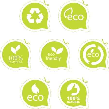 Set di etichette di eco amichevole, naturali e biologici.