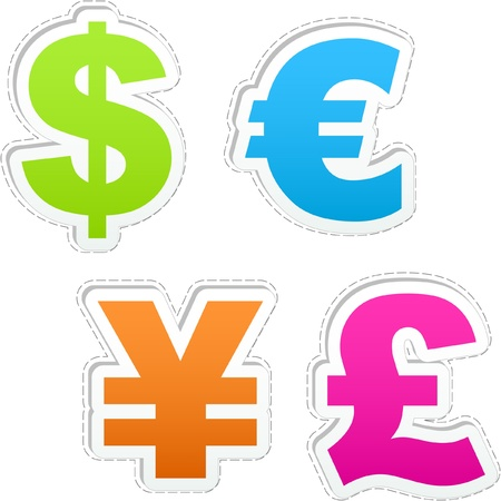 american currency: Vector dollar, euro, yen and pound.