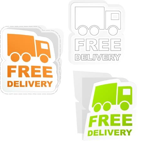 bent highway: FREE DELIVERY. Sticker set. Illustration