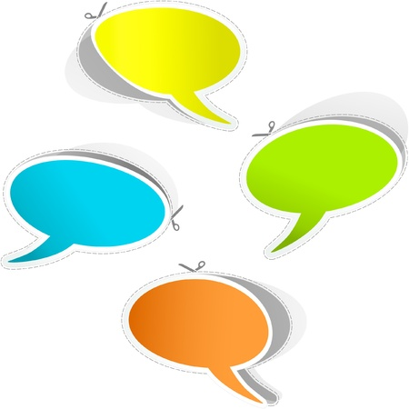feedback link: Vector speech bubble. Sticker set.