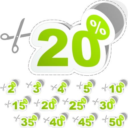 Plantillas de pegatina con diferentes porcentajes de descuento