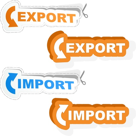 transit: Import and Export sticker set. Vector illustration. Illustration