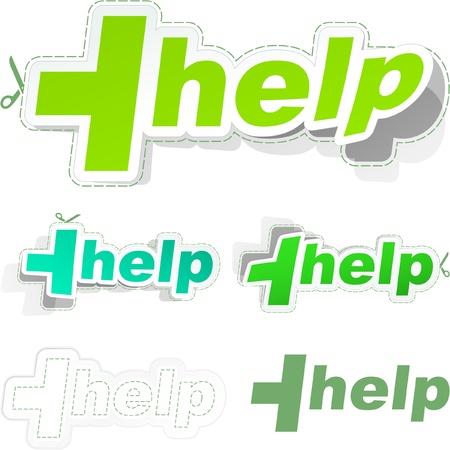 HELP. Vector sticker set. Stock Vector - 9039177