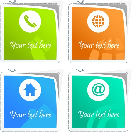 adress: Home, phone, internet and email. Sticker set for site.   Illustration