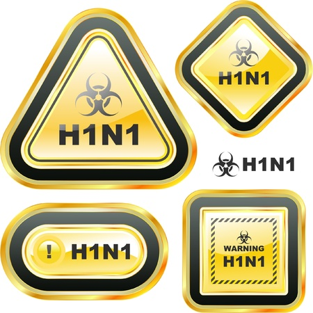 H1N1. Swine flu warning sign collection. Stock Vector - 9401325