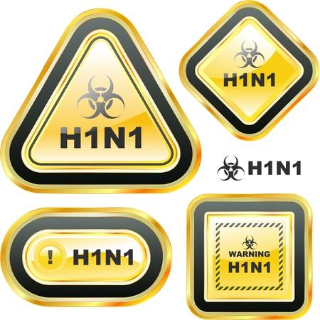 H1N1. Swine flu warning sign collection. Vector