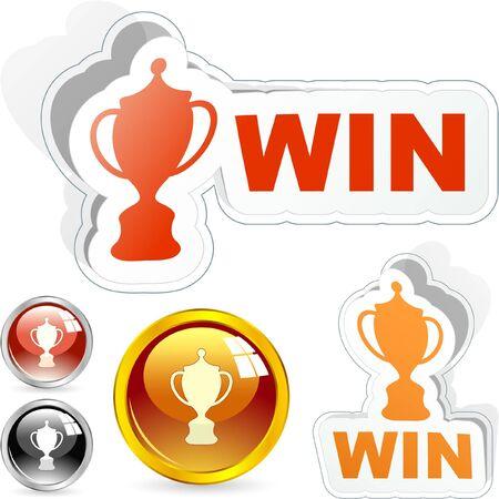 second prize: WIN. Vector award set.