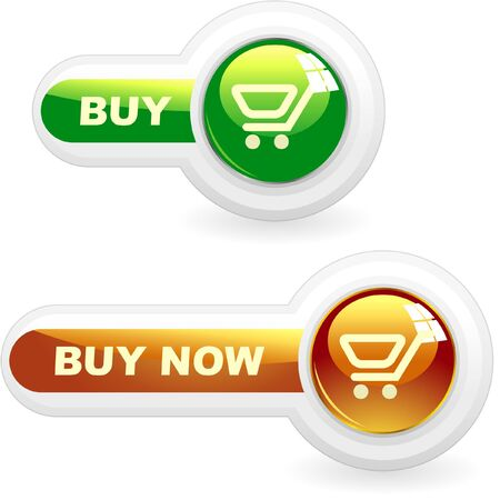 online auction: Shopping button. Vector collection.    Illustration