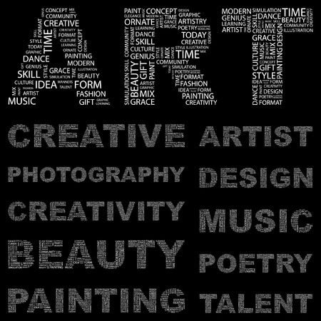 ART. Word collage on black background. Vector illustration. Illustration with different association terms.    Vector
