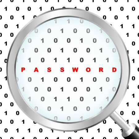 PASSWORD. Magnifying glass over binary code. Vector illustration. Stock Vector - 9401327