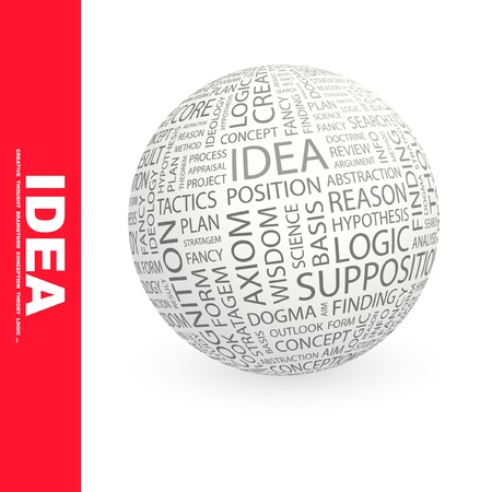 axiom: IDEA. Globe with different association terms.  Illustration
