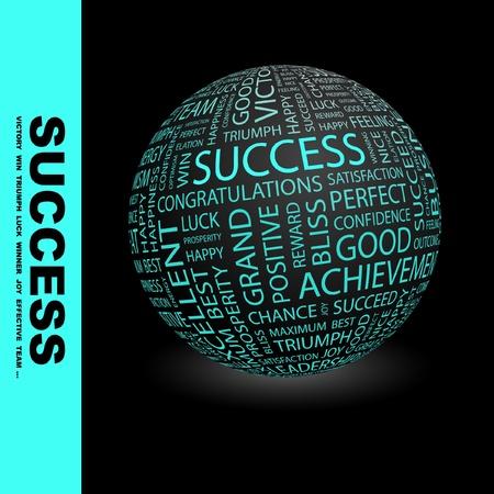 financial success: ERFOLG. Globus mit verschiedenen Association Bedingungen.  Illustration