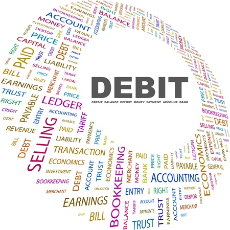 debit: DEBIT. Word collage on white background. Vector illustration. Illustration with different association terms.