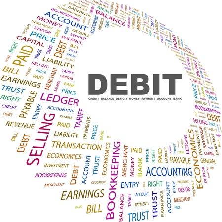 빚: DEBIT. Word collage on white background. Vector illustration. Illustration with different association terms.
