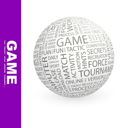 online game: GAME. Globe with different association terms. Word cloud illustration.