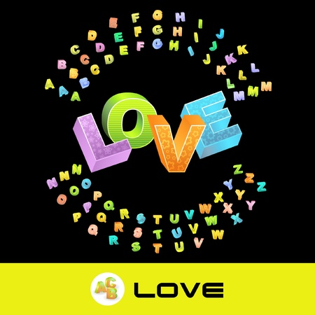 LOVE. Vector 3d illustration with colored alphabet. Vector