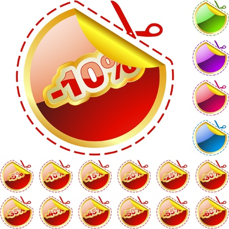 Discount sticker templates with different percentages Stock Vector - 9039247
