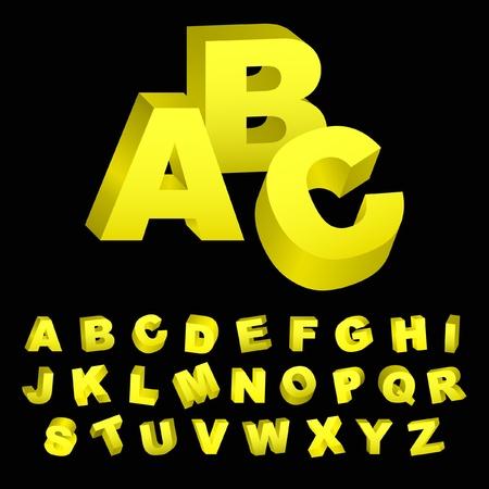 letras cromadas: alfabeto 3D. Conjunto de vectores.