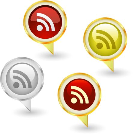 meta: RSS. Icon set. Illustration