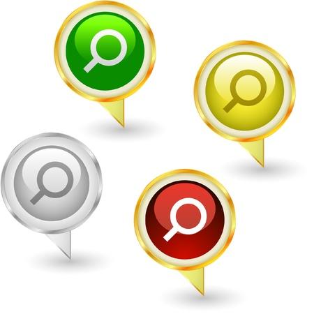 search icon: Vector search icon set. Stock Illustratie