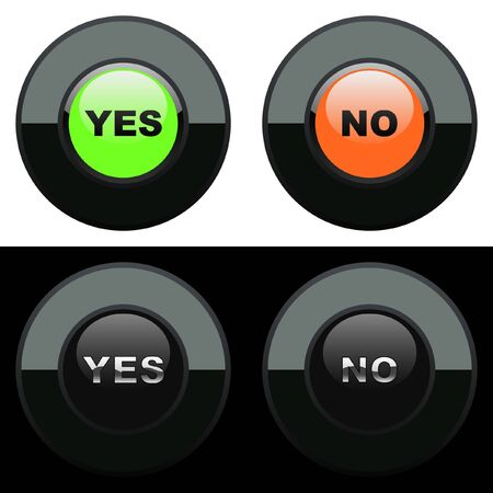Yes and No button set. Vector