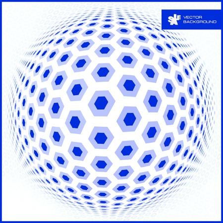 mixed media: Abstract hexagon mosaic.