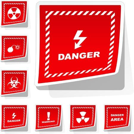Warning sticker set. Vector template.