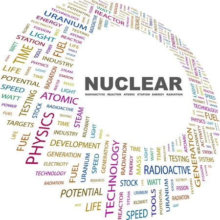 fission: NUCLEAR. Word collage on white background. Vector illustration. Illustration with different association terms.