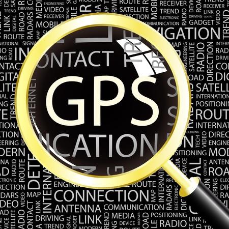 satellite navigation: GPS. Lupa sobre fondo con t�rminos de asociaci�n diferente. Ilustraci�n vectorial.
