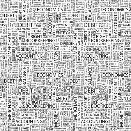 DEBIT. Seamless vector pattern with word cloud. Illustration with different association terms.