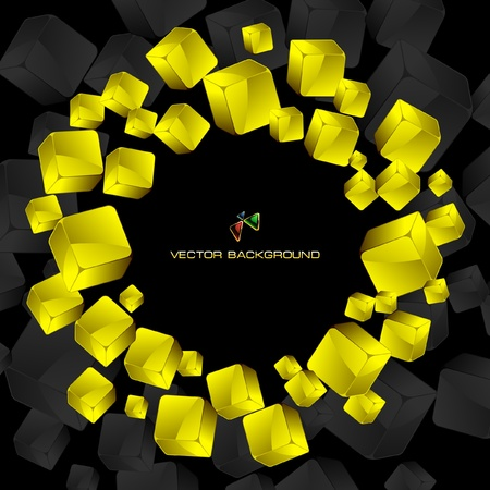 Abstract background with golden boxes     Vector