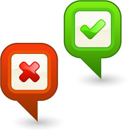 preferencia: Botones aprobados y rechazados. Conjunto de vectores.
