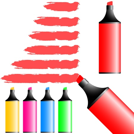 emphasize: Vector marker set. Illustration