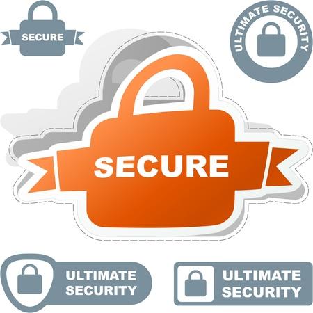 SECURE. Lock sticker. Vector set for web.