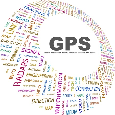 GPS. Word collage on white background. Vector illustration. Illustration with different association terms.    Stock Vector - 8947863
