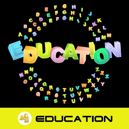 erudition: EDUCATION. Colored 3d alphabet. Vector set.