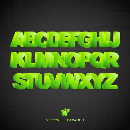 3d alphabet. Green set. Vector