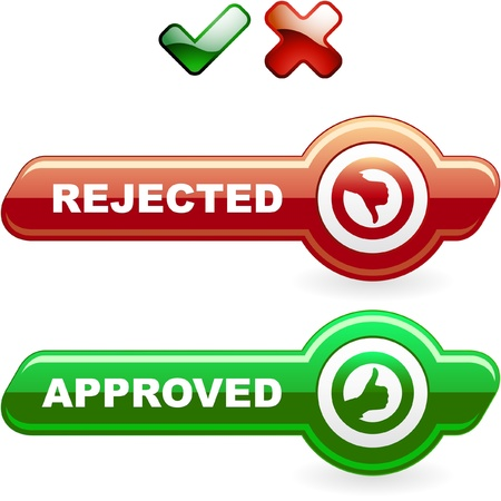 Approved and rejected button set. Vector