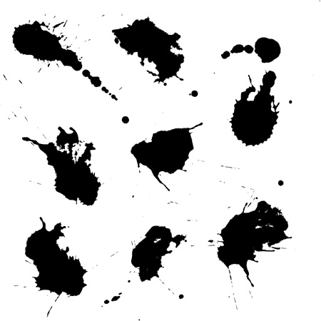 scattered on white background: Set of black ink blots isolated on white