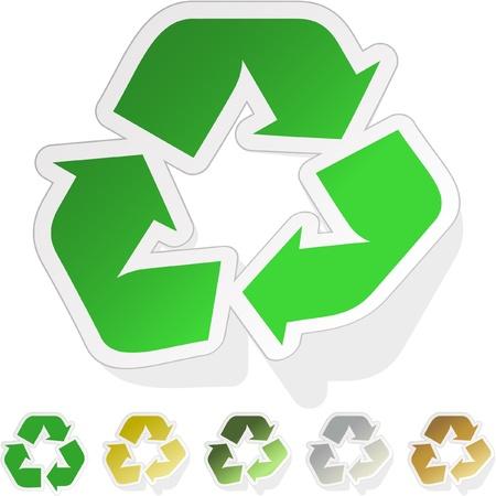 recycle symbol vector: Recycle symbol. Vector sticker set.
