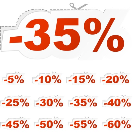 cost reduction: Discount label templates with different percentages