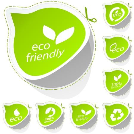 earth friendly: Conjunto de etiqueta ecol�gica. Vectores