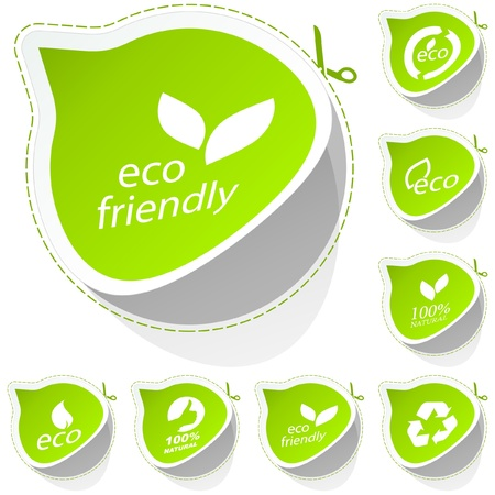 earth friendly: ECO sticker set. Illustration