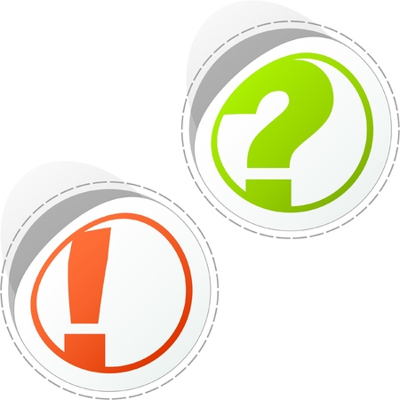 Exclamation and question vector elements.    Vector
