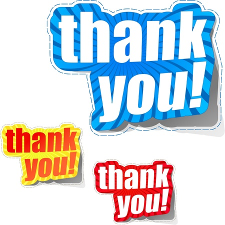 many thanks: THANK YOU. Sticker collection. Vector illustration. Illustration