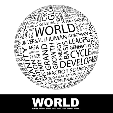 personality development: WORLD. Globe with different association terms. Wordcloud vector illustration.