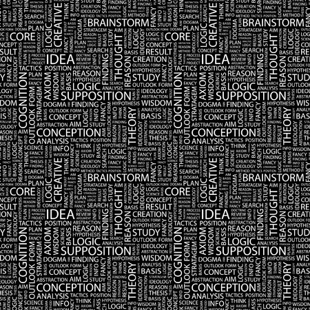 supposition: IDEA. Seamless vector background. Wordcloud illustration. Illustration with different association terms.   Illustration